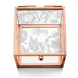 Glass Jewelry Box with Rose Gold Edges - Modern Floral Etching