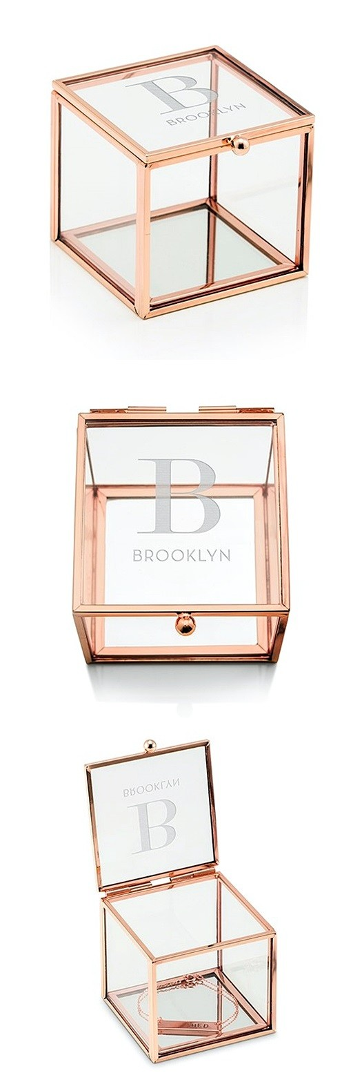 Glass Jewelry Box with Rose Gold Edges - Modern Serif Initial Etching
