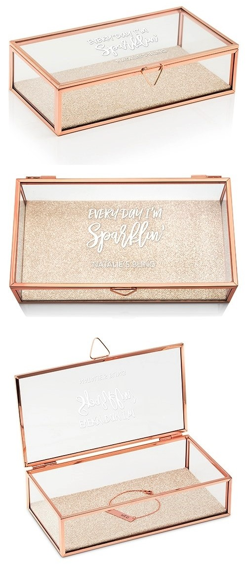 Rose Gold and Glass Jewelry Box with Every Day I'm Sparklin' Etching