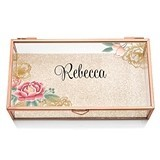 Weddingstar Rose Gold and Glass Jewelry Box with Modern Floral Etching