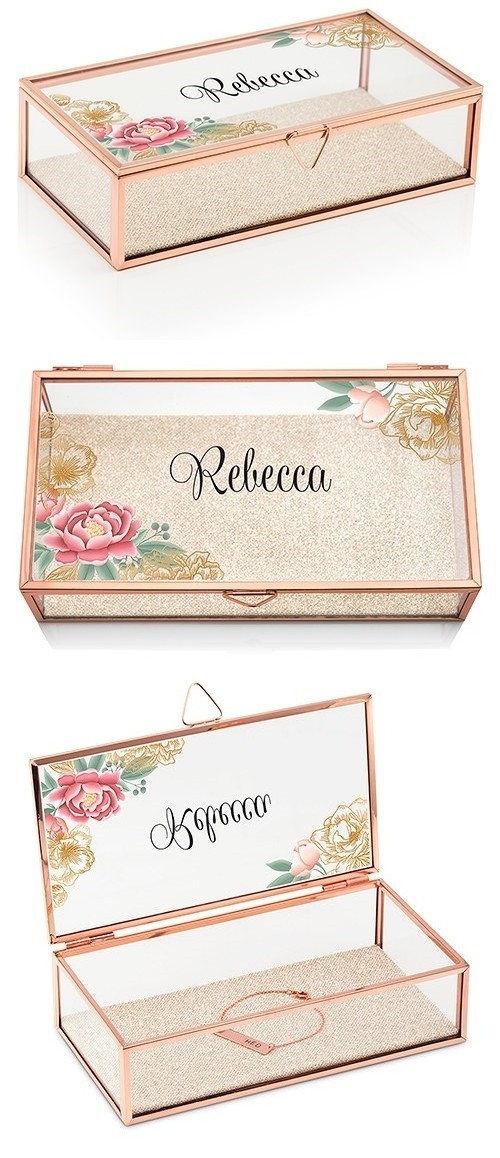 Weddingstar Rose Gold and Glass Jewelry Box with Modern Floral