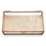 Rose Gold and Glass Jewelry Box with Elegant Calligraphy Etching