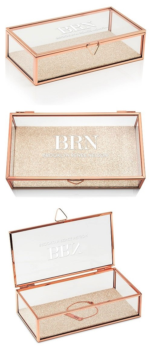 Rose Gold and Glass Jewelry Box with Modern Serif Initials Etching
