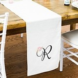 Monogrammed Off-White Linen Modern Floral Print Table Runner (2 Sizes)