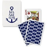 Navy Foil 'Let's Sail Away' Playing Cards with Nautical Ropes Motif