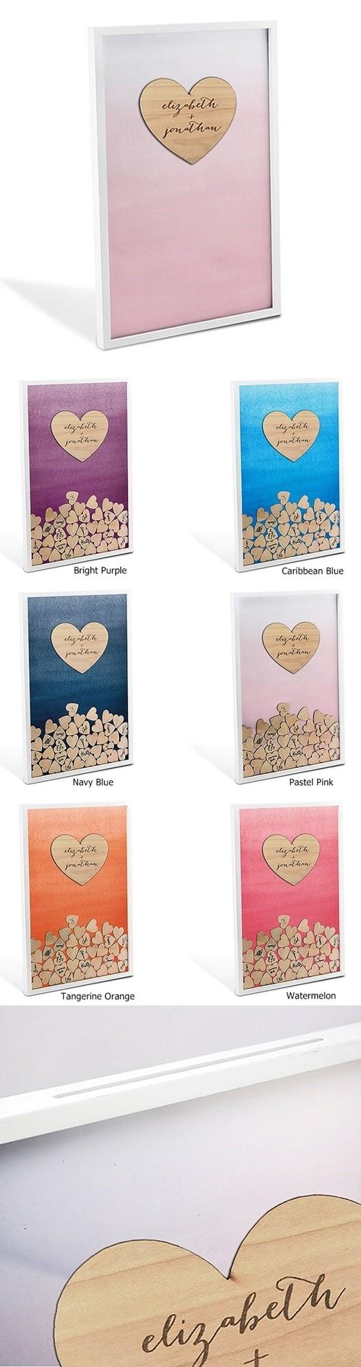 Personalized Aqueous Wedding Drop Box Guest Book w/ Hearts (6 Colors)