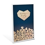 Personalized Starry Night Wedding Drop Box Guest Book with Wood Hearts