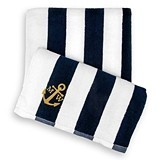 Weddingstar Personalizable Navy-Striped 100% Cotton Terry Beach Towel