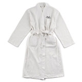 Personalizable Waffle-Weave Cotton Kimono Men's Robe in White