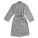 Personalizable Waffle-Weave Cotton Kimono Men's Robe in Grey