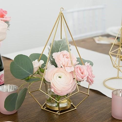 Weddingstar Geo Gold-Color-Metal Candle Holder/Centerpiece (Set of 2)