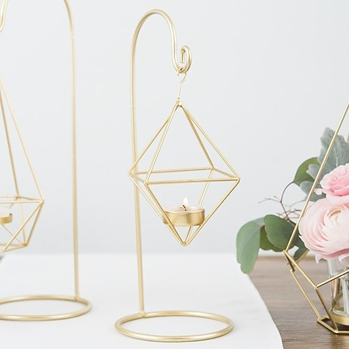 Weddingstar Small Gold Geometric Hanging Tealight Holder (Set of 2)