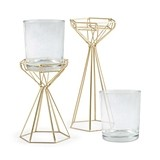 Weddingstar Geo Gold-Colored-Metal and Glass Candle Holders (Set of 2)
