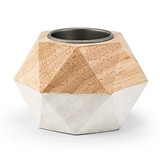 Weddingstar Geometric White-Dipped Wooden Tea Light Holders (Set of 4)