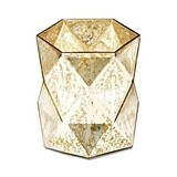Weddingstar Gold-Colored Geo Diamond Mercury-Glass Hurricane Vase