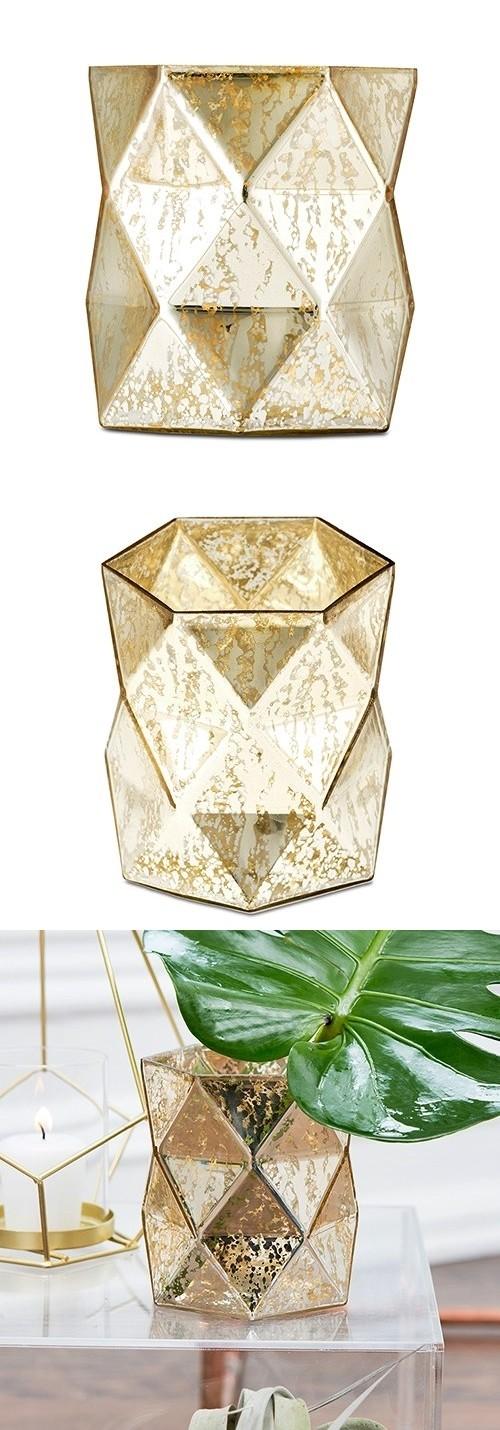 Weddingstar Gold-Colored Geo Diamond Mercury-Glass Hurricane Vase