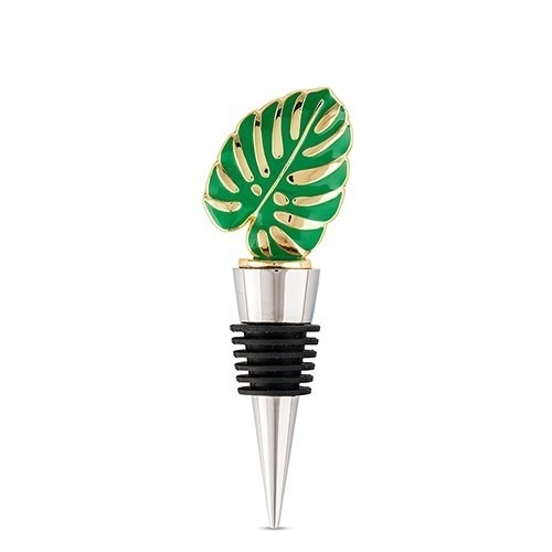 Weddingstar Green Tropical Palm Leaf-Topped Bottle Stopper