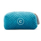 Weddingstar Monogrammed Oasis Blue Quilted Velvet Travel Toiletry Bag