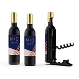 Wine Bottle-Shaped Corkscrew w/ Personalized Retro Luxe Stripes Label