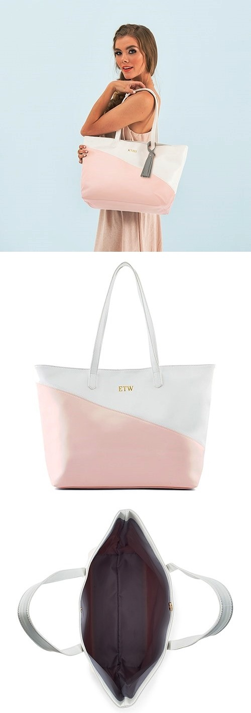 Weddingstar Personalizable Vegan-Leather Color-Block Pink & White Tote