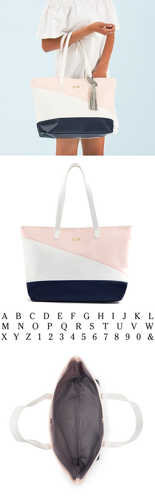 Personalizable Vegan-Leather Color-Block Navy Blue, Pink & White Tote