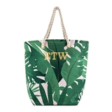 Weddingstar Personalizable Tropical Leaf Print Canvas Tote