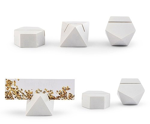 Weddingstar White Geometric Place Card Holders (Assorted Set of 6)