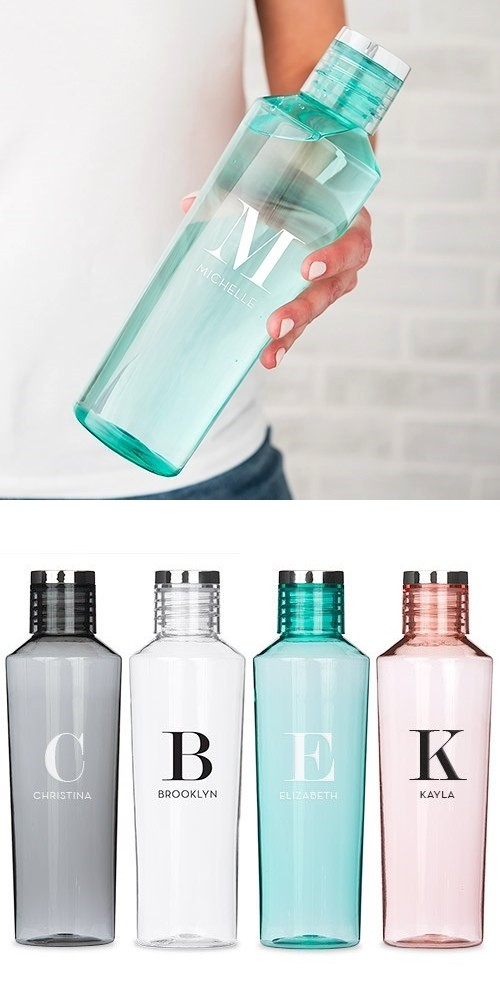 Weddingstar Personalized Plastic Water Bottle - Modern Serif Initial