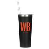 Personalized Black Stainless Steel Tumbler with Modern Monogram & Text