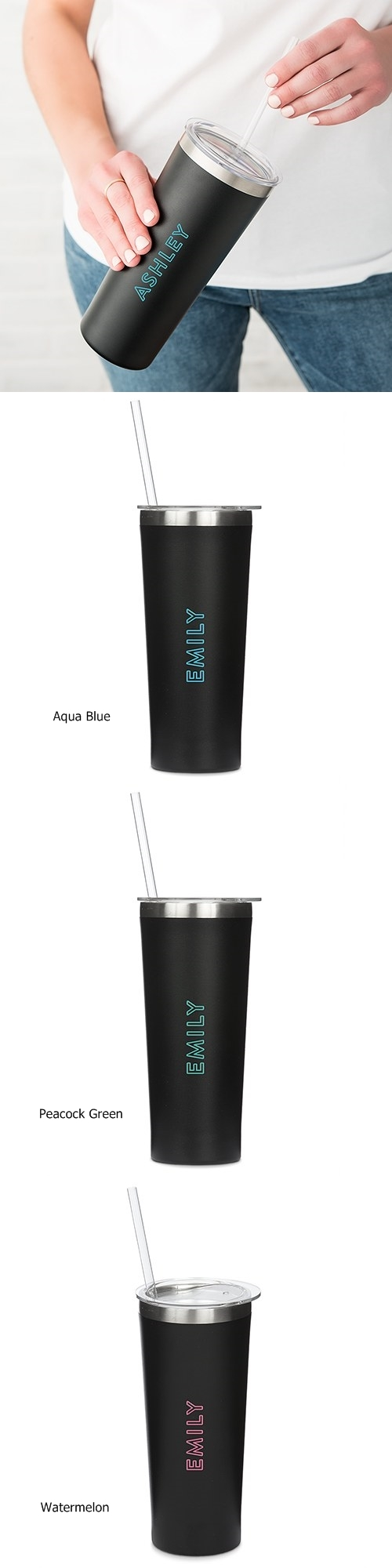 Black-Finish Stainless-Steel Tumbler - Summer Vibes Print (3 Colors)