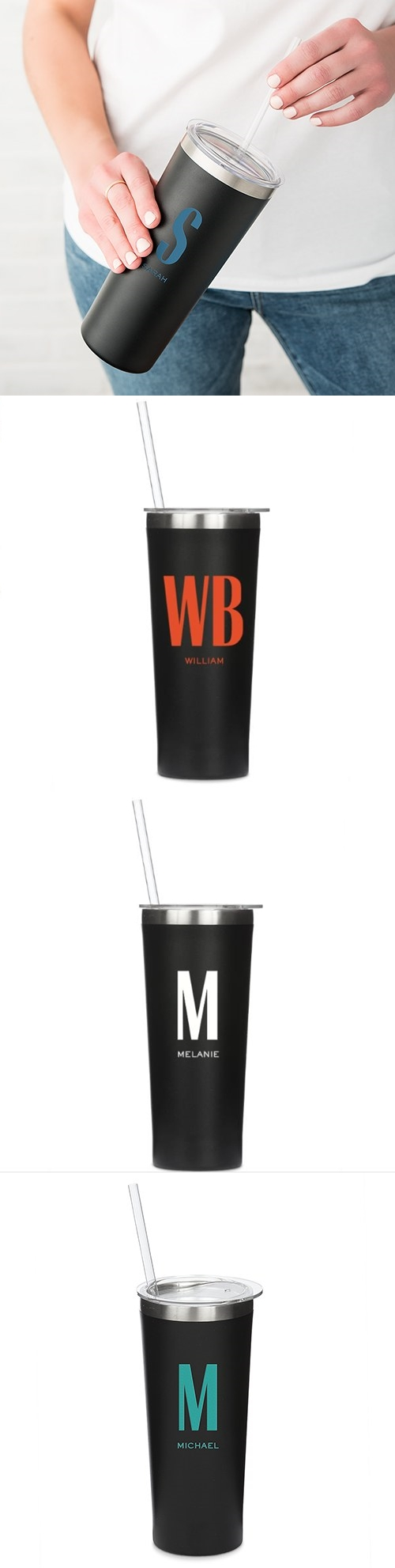 Black-Finish Stainless-Steel Tumbler - Custom Monogram (4 Colors)