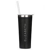 Black-Finish Stainless-Steel Tumbler - Contemporary Vertical Line