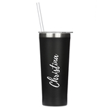 Black-Finish Stainless-Steel Tumbler - Calligraphy Text Printing