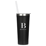 Black-Finish Stainless-Steel Tumbler - Modern Serif Initial Monogram