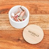 Round Wooden Keepsake Box With Lid - Classic Font Etching