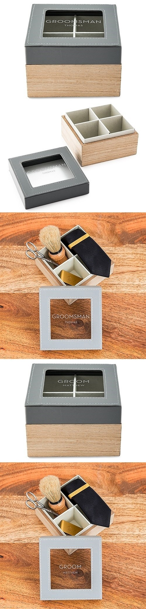 Wood and Faux-Leather Keepsake Box with Glass Lid - Groom or Groomsman