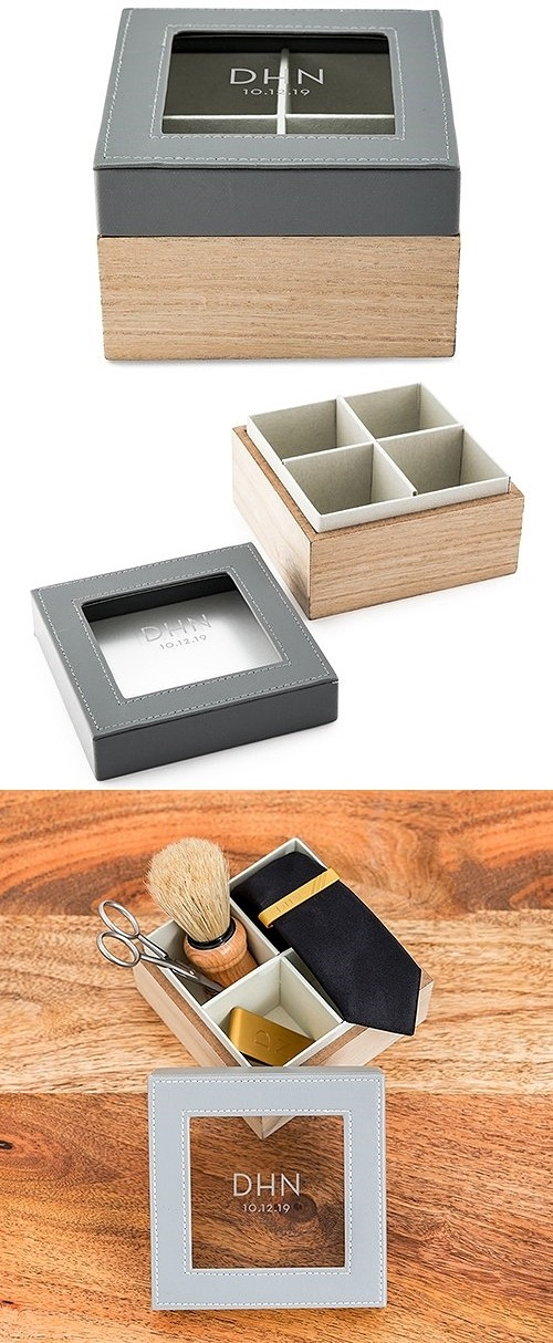 Wood and Faux-Leather Keepsake Box with Glass Lid - Modern Initials