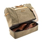 Personalizable Weekend Carry On Bag - Genuine Leather & Canvas