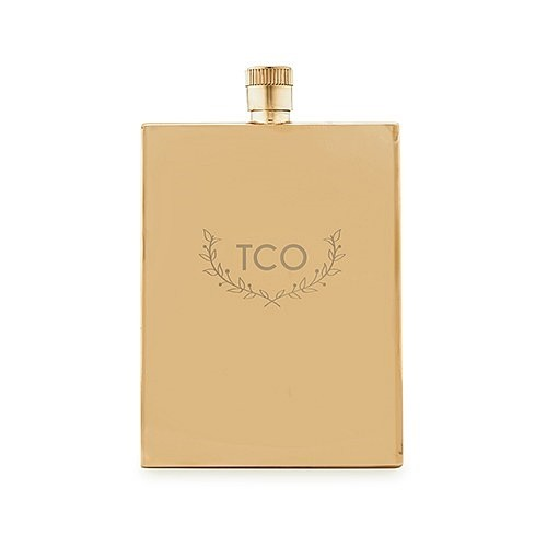 Gold-Plated Stainless-Steel Flask with Woodland Monogram Etching