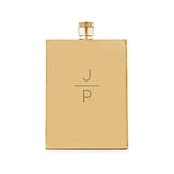 Gold-Plated Stainless-Steel Flask with Stacked Monogram Etching