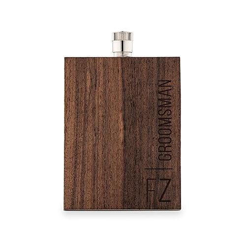 Weddingstar Wood-Veneer Stainless-Steel Flask w/ Vertical Text Etching