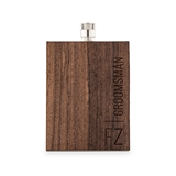 Weddingstar Wood-Veneer Stainless-Steel Flask w/ Vertical Text Etching