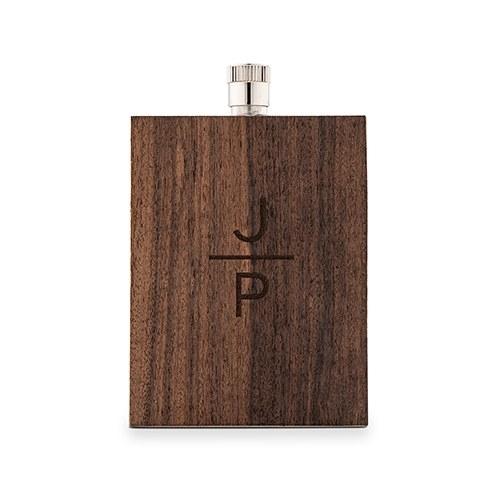 Wood-Veneer Stainless-Steel Flask with Stacked Monogram Etching