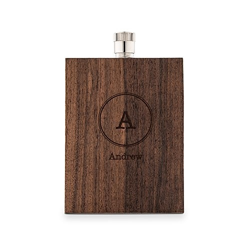 Wood-Veneer Stainless-Steel Flask with Circle Monogram Etching
