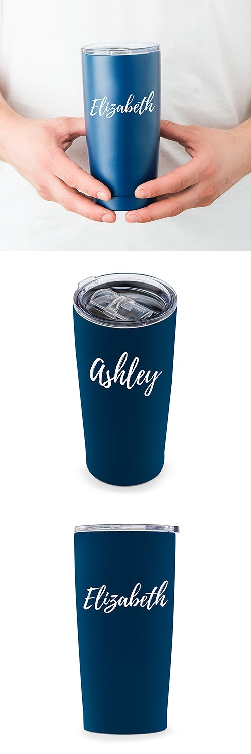 Calligraphy Text Printing Navy-Blue-Finish Stainless-Steel Travel Mug