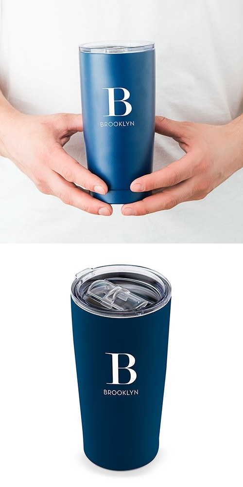 Navy-Blue-Finish Stainless-Steel Travel Mug - Modern Serif Initial