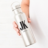 Personalized Stainless Steel Travel Bottle with Modern Monogram & Text