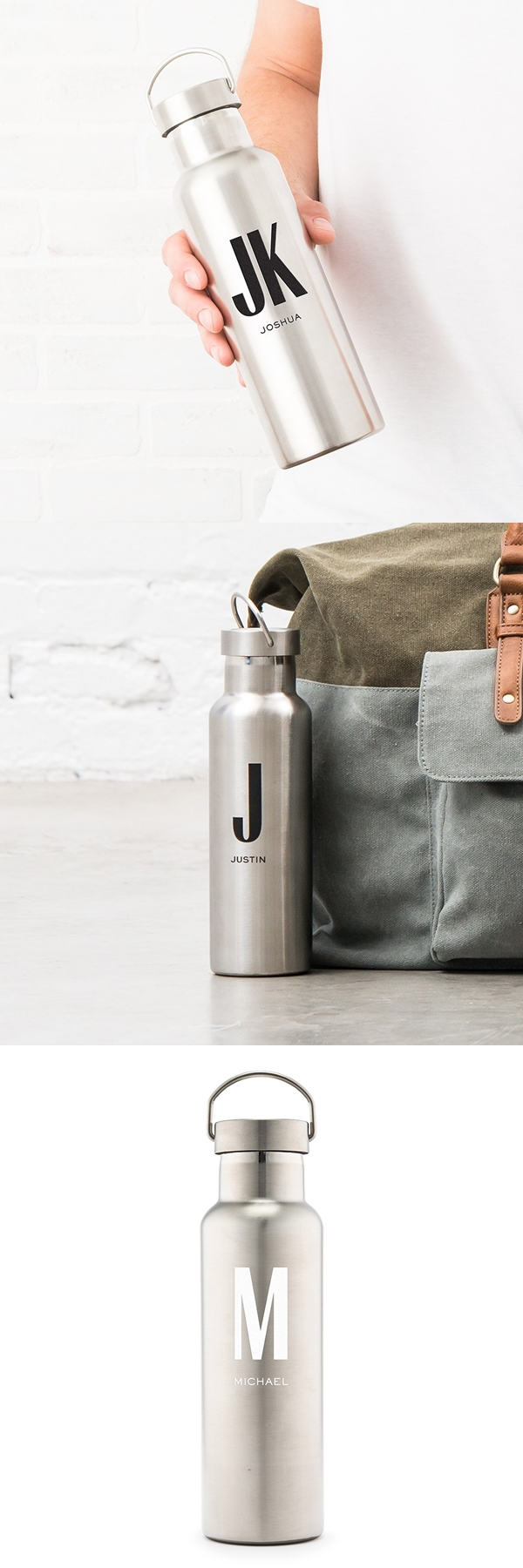 Personalized Chrome Water Bottle with Handle - Monogram Print
