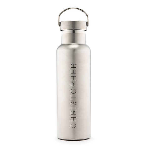 Personalized Chrome Water Bottle with Handle - Vertical Line Print