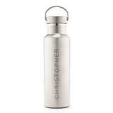 Personalized Chrome Stainless Steel Travel Bottle with Vertical Print